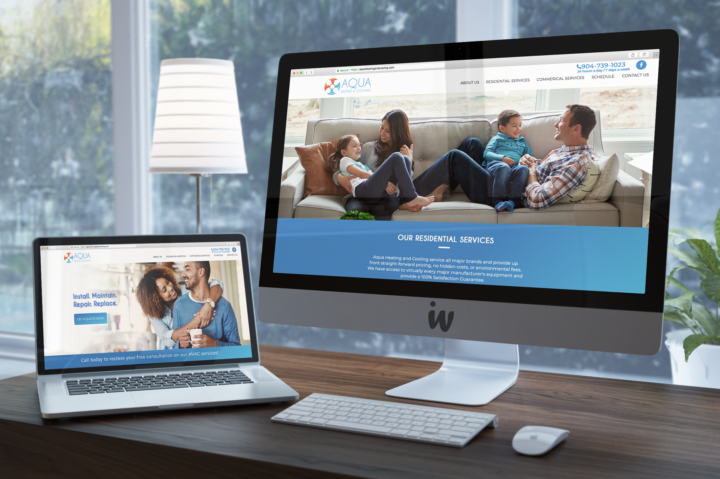 This is a image of AQUA Heating and Cooling's website on a iMac and MacBook Pro