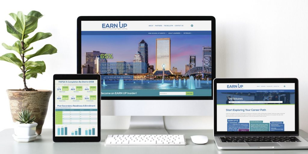 Earn Up's new website and branding.